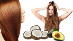Mascarilla casera y natural con aceite de coco y aguacate para el cabello quebradizo