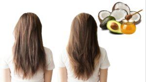 Mascarilla de aceite de coco, aguacate y miel de abejas para el cabello reseco