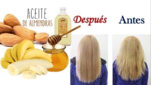 Mascarilla de cambur, miel y aceite de almendras para el cabello con puntas abiertas u horquetillas