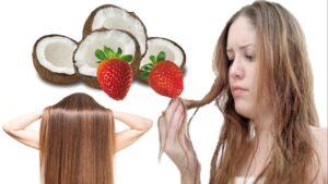 Mascarilla natural de coco y fresas para el cabello quebradizo