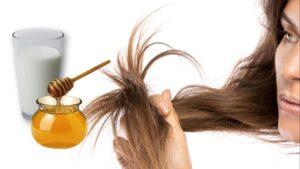 Mascarilla natural y casera de leche y miel para hidratar para el cabello quebradizo