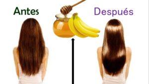 Mascarilla para reparar el cabello reseco conmiel y plátano